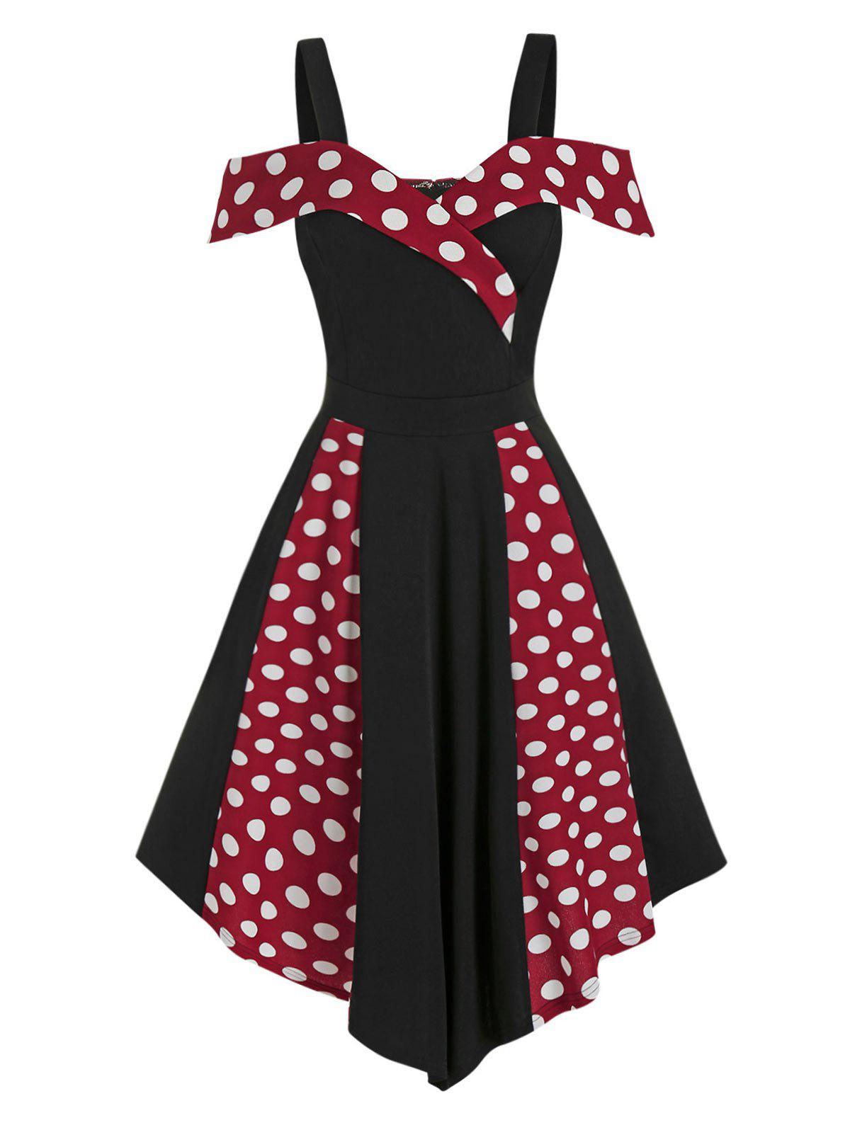 Store Contrast Polka Dot Print Cold Shoulder Vintage Asymmetrical Dress