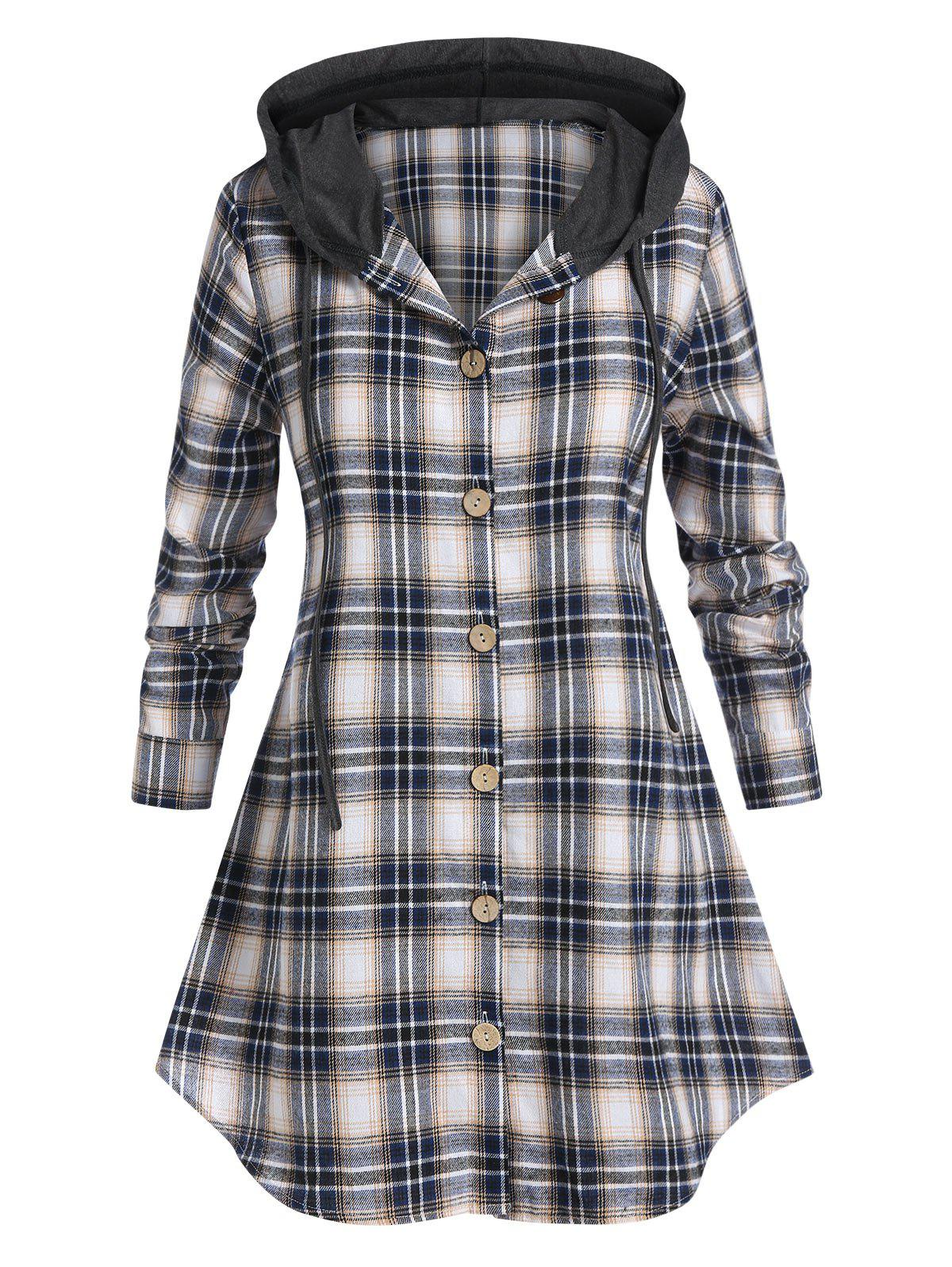 Store Plus Size Plaid Hooded Curved Hem Tunic Blouse