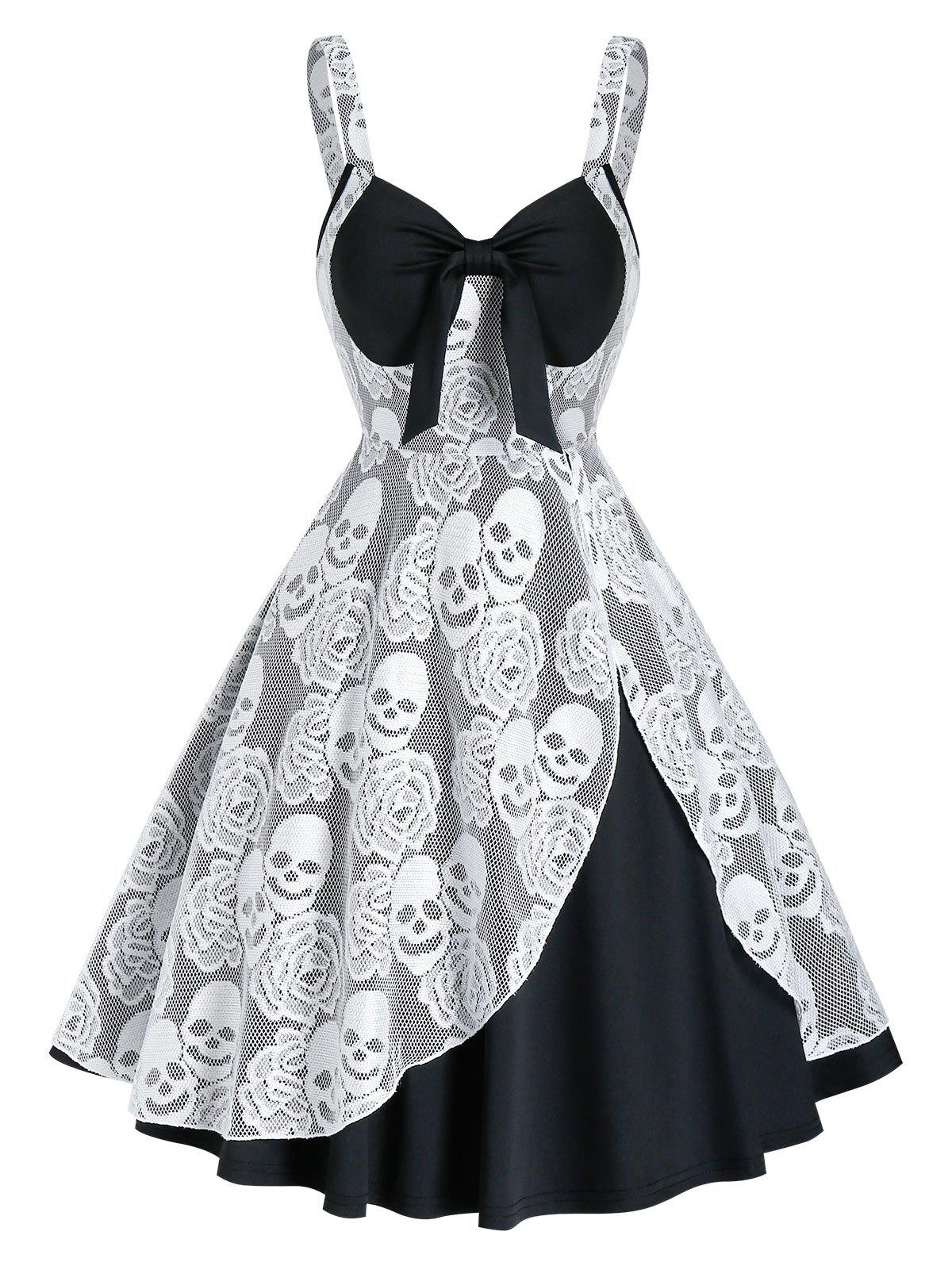 Fashion Sleeveless Halloween Skull Lace Insert Twofer Dress