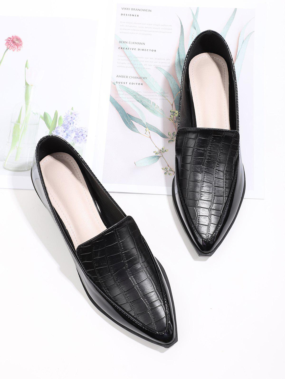Fashion Pointed Toe Textured Slip On Shoes
