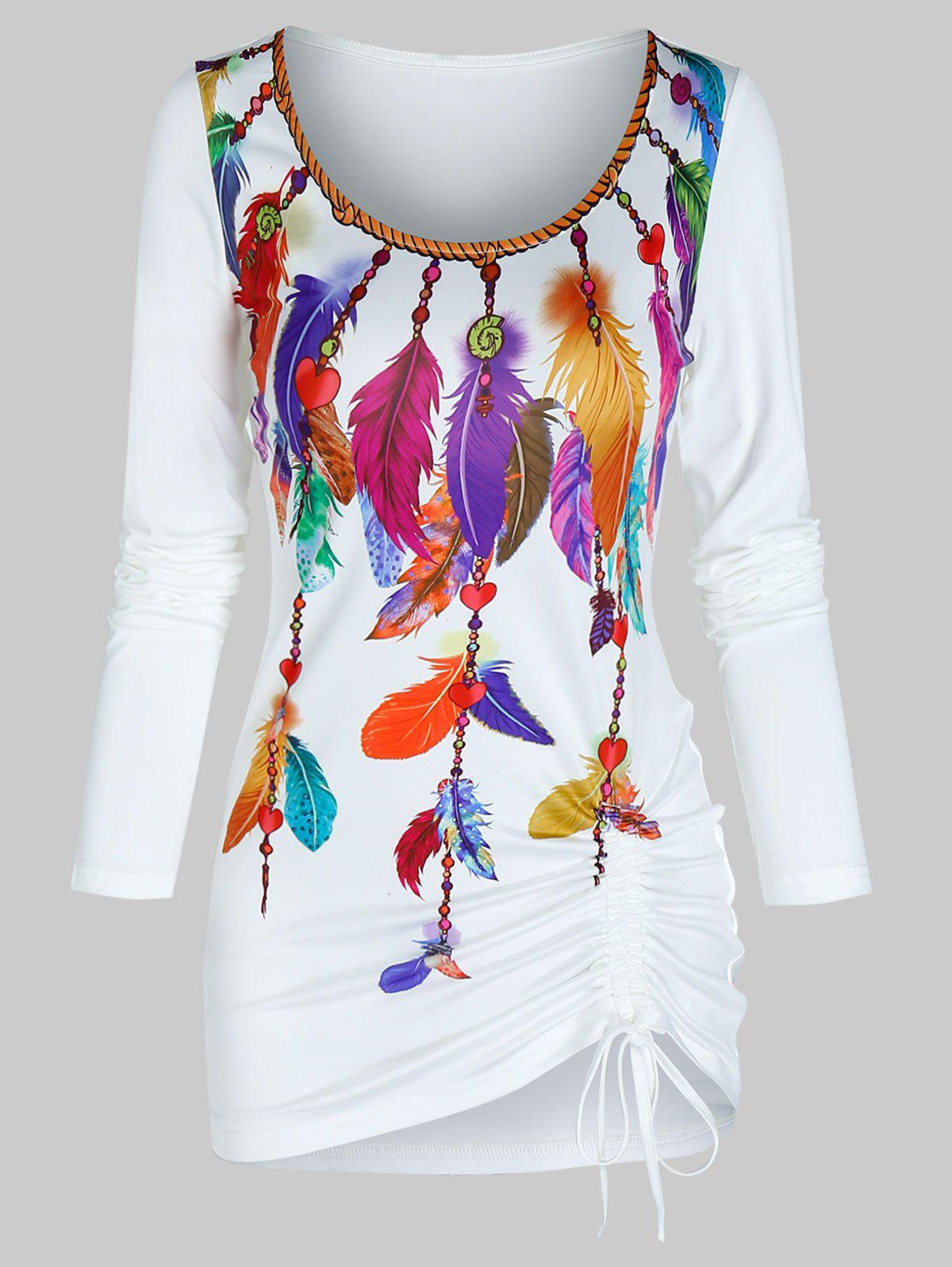 Outfits Colorful Feather Print Drawstring Hem Long Sleeve T Shirt