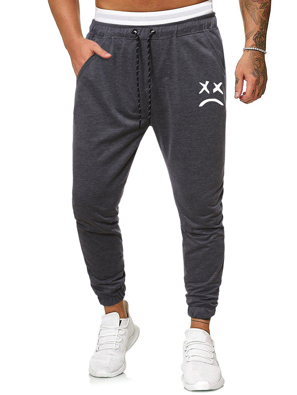 Fashion Funny Face Graphic Casual Drawstring Sweatpants
