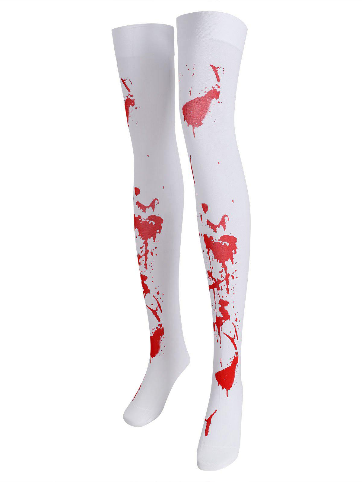 Outfit Plus Size Hallowmas Blood Print Thigh Highs