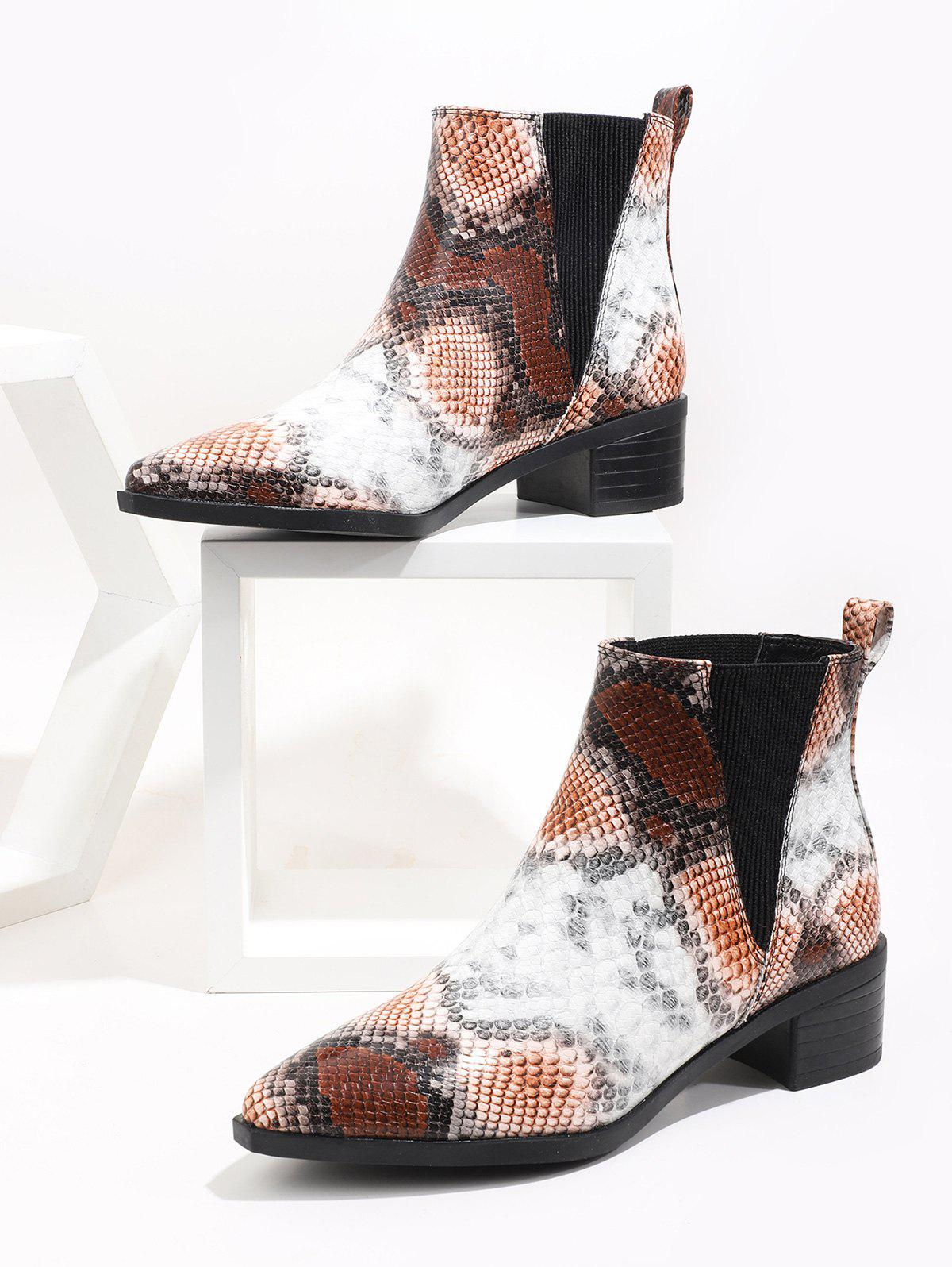 Affordable Pointed Toe Snakeskin Print Chelsea Boots