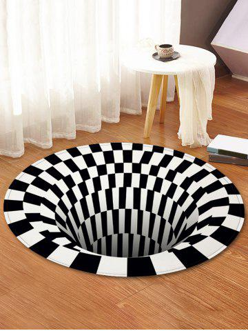 3D Printed Checkered Spiral Round Floor Mat - JET BLACK - R31.5 INCH