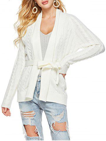 Belted Shawl Collar Cable Knit Cardigan - WHITE - M
