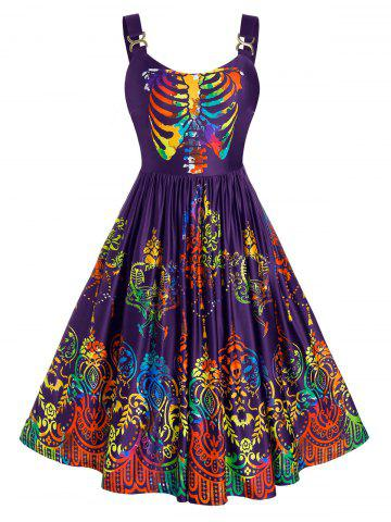 Plus Size Colorful Skulls Skeleton Halloween Backless Retro Dress - PURPLE IRIS - 1X