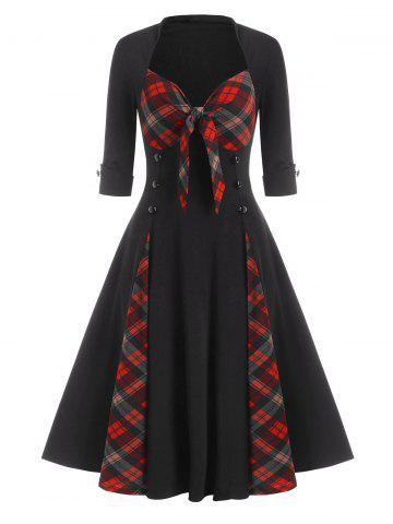 Mock Button Plaid Print Bowknot Detail Vintage Dress