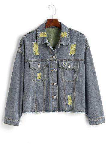 Distressed Frayed Hem Plus Size Denim Jacket - YELLOW - 5X