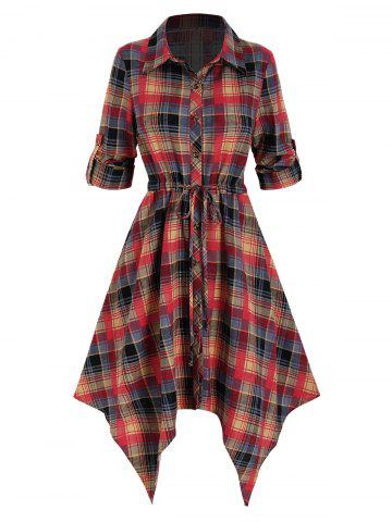 Plaid Printed Handkerchief Shirt Dress