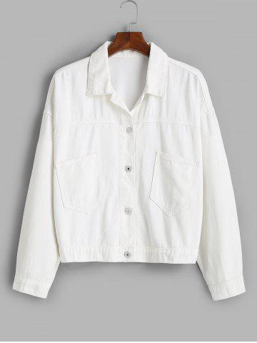Patched Pockets Button Up Plus Size Denim Jacket - WHITE - 5X