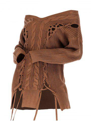 Lace Up Cable Knit V Neck Sweater - COFFEE - L