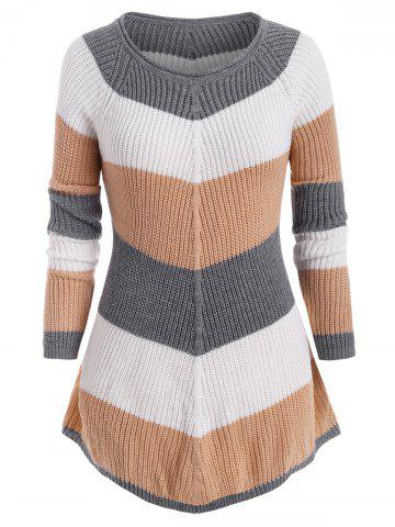 Plus Size Colorblock Tunic Sweater