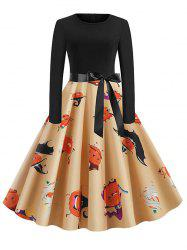 Halloween Pumpkin Knee Length Belted Dress -