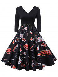 Halloween Pumpkin Spider Web Flame Print Belted Dress -