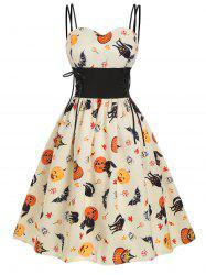 Halloween Pumpkin Cat Skull Print Lace Up Dress -