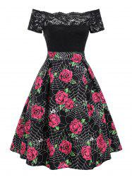 Halloween Spider Web Flower Print Lace Panel Dress -