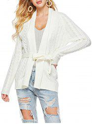 Belted Shawl Collar Cable Knit Cardigan -