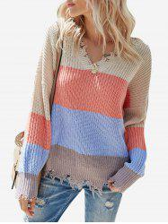 Colorblock V Neck Ripped Sweater -