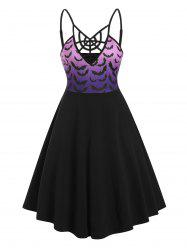 Cobweb Ombre Bats Print Hallowmas Cami Dress -