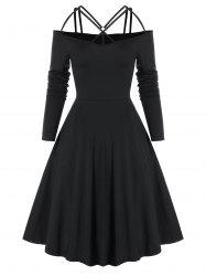 Gothic Criss Cross O Ring Cold Shoulder Dress -