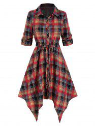 Plaid Printed Handkerchief Shirt Dress -