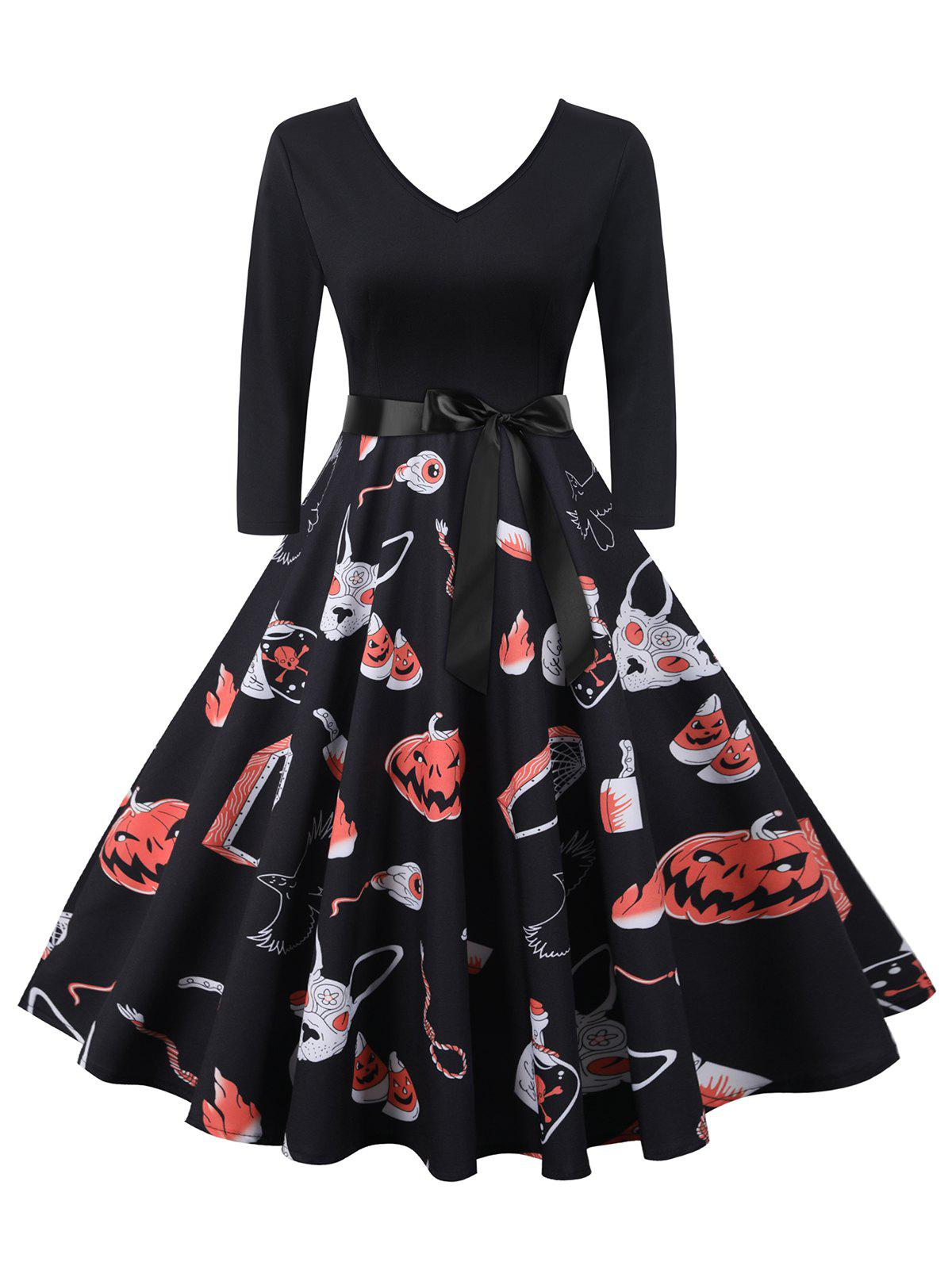 Discount Halloween Pumpkin Spider Web Flame Print Belted Dress