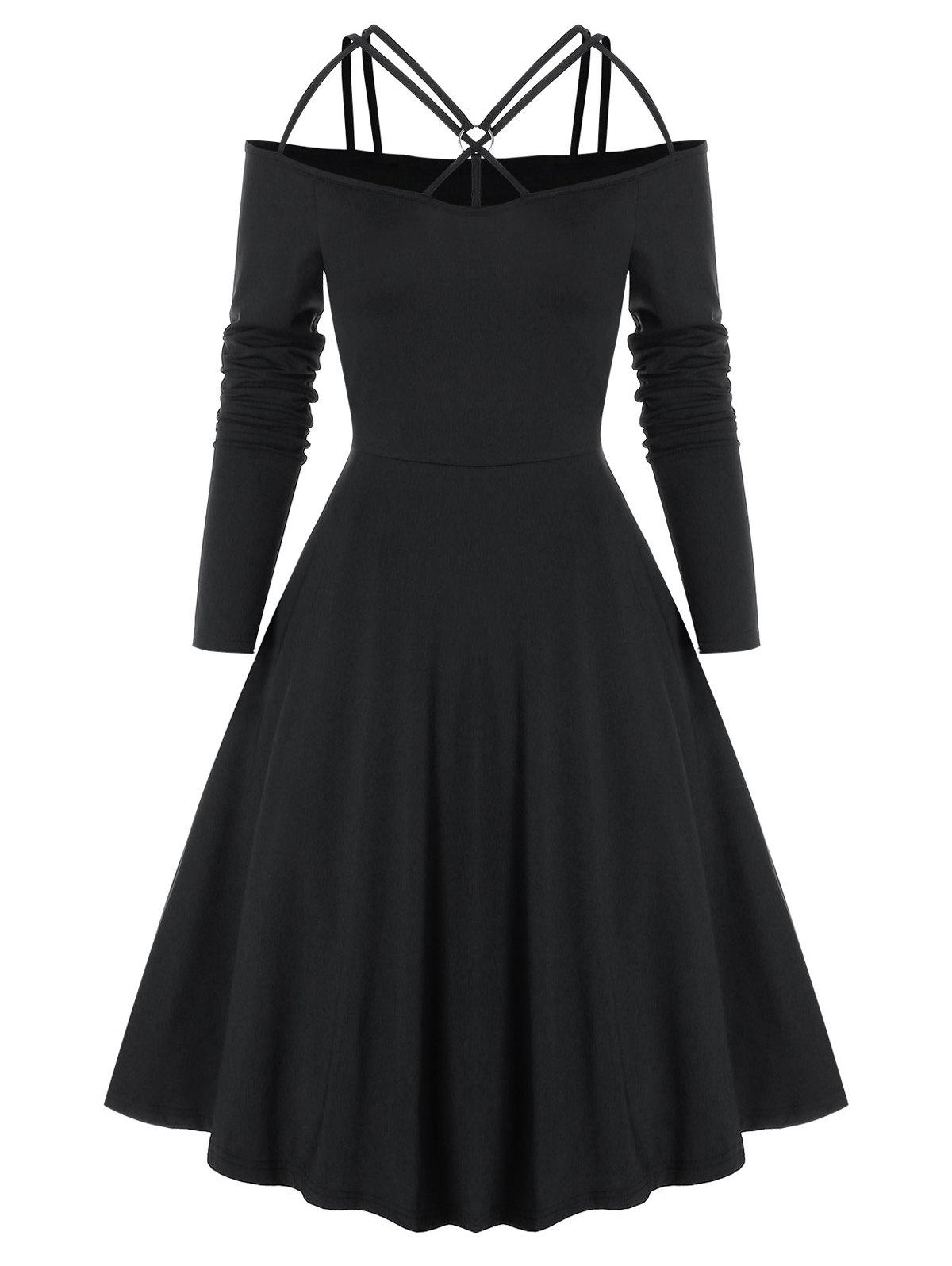 Online Gothic Criss Cross O Ring Cold Shoulder Dress