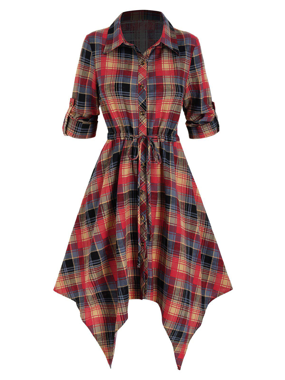 Fashion Plaid Printed Handkerchief Shirt Dress