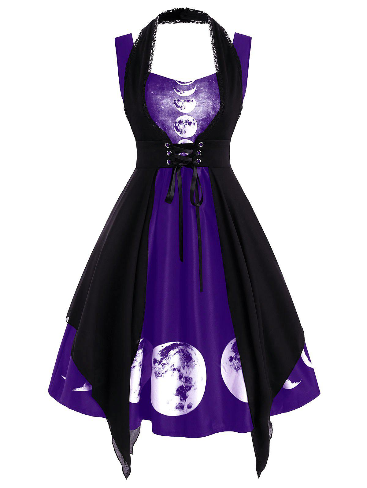 Online Sweetheart Lunar Eclipse Print Dress with Lace Panel Corset