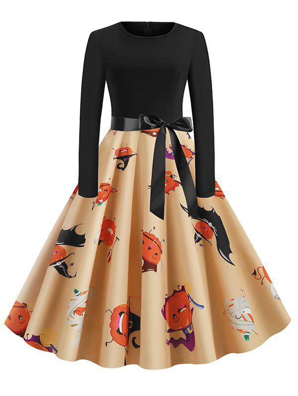 Outfit Halloween Pumpkin Knee Length Belted Dress