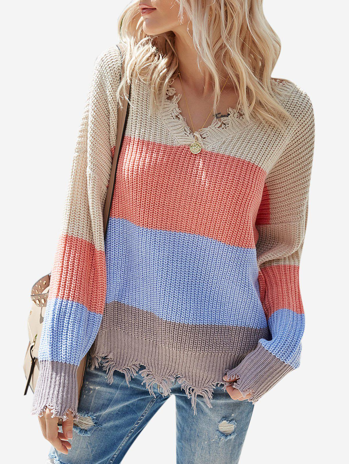 Shops Colorblock V Neck Ripped Sweater