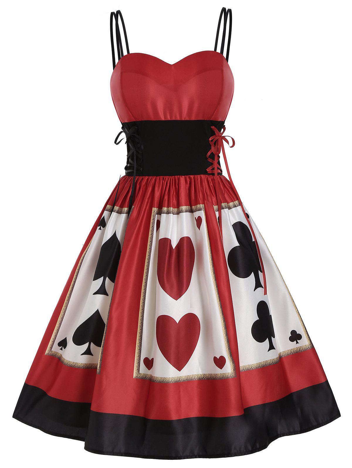 New Playing Card Print Lace Up Empire Waist Dress