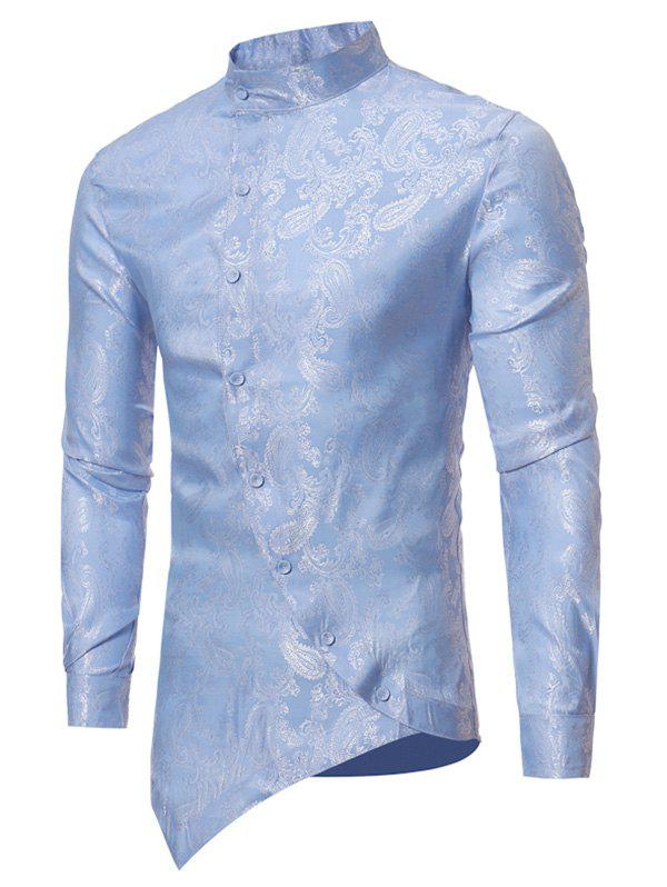 Cheap Paisley Jacquard Button Up Asymmetrical Shirt