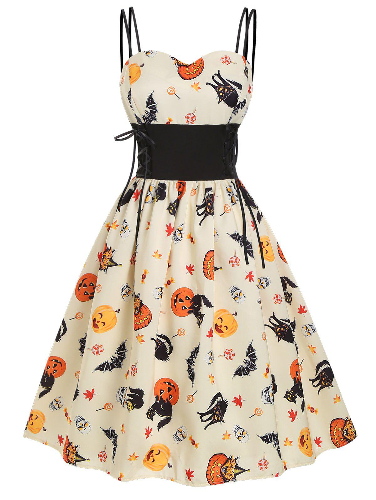 Outfit Halloween Pumpkin Cat Skull Print Lace Up Dress