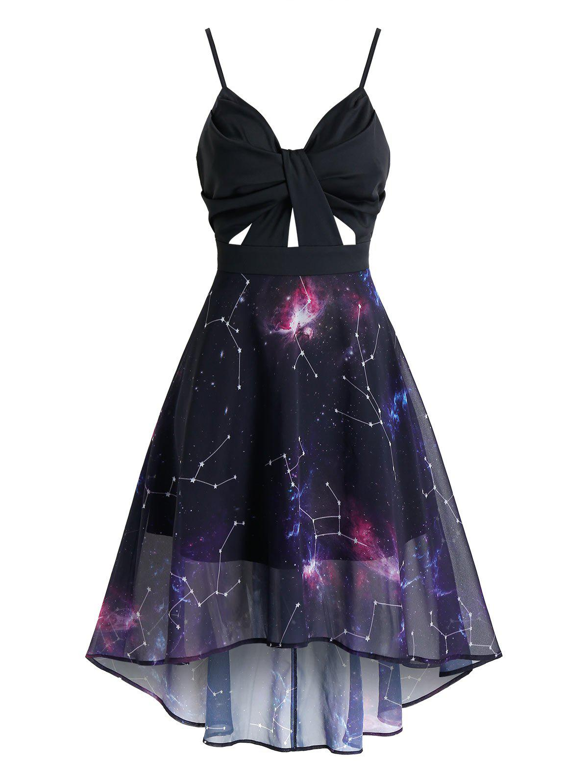 Fashion Ruched Starry Print Overlay Mesh High Low Dress