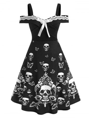 Plus Size Halloween Contrast Lace Skull Print Dress - BLACK - 3X