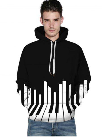 3D Piano Print Kangaroo Pocket Hoodie - BLACK - XL