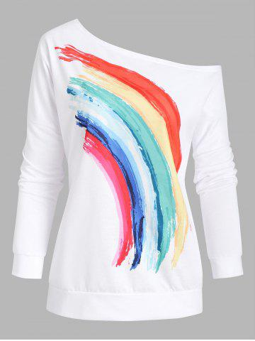 Skew Collar Rainbow Print Drop Shoulder Sweatshirt