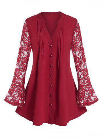 Plus Size Lace Flare Sleeve Sheer Pintuck Tunic Blouse - RED WINE - 5X