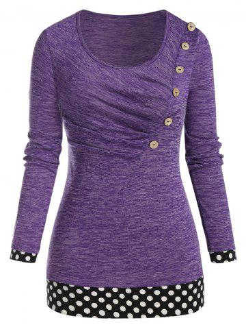 Plus Size Polka Dot Space Dye Long Sleeve Ruched Tee