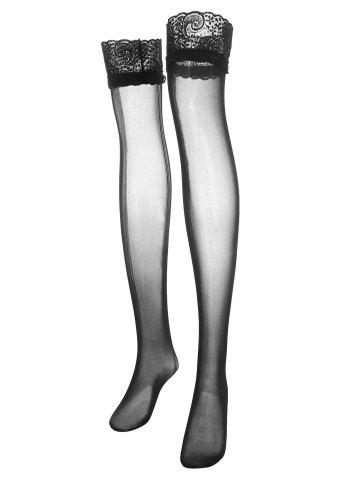 Plus Size Lace Panel Sheer Thigh High Stockings - BLACK - ONE SIZE
