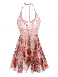 Plus Size Halter Lace Insert Backless Floral Babydoll Set -