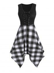 Lace Up Plaid Print Sleeveless Asymmetrical Dress -