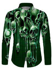Liquid Skull Print Button Up Long Sleeve Shirt -