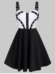 Punk Colorblock Grommet Zipper A Line Dress -