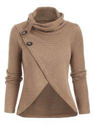 Cowl Neck Tulip Front Buttoned Knitwear -