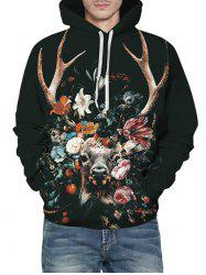 Floral Cattle Graphic Front Pocket Drawstring Hoodie -