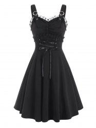 Sleeveless Buckle Detail Lace Panel Lace-up Dress -
