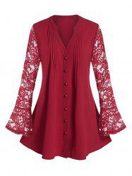Plus Size Lace Flare Sleeve Sheer Pintuck Tunic Blouse -
